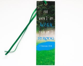 Bible Verse Bookmark | 2 Corinthians 12:10, Christian Bookmark, motivational bookmark, Christian gift, Faith gift