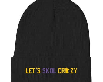 Let's Skol Crazy Minnesota Vikings Football Fan Purple Reign Miracle Knit Beanie Hat