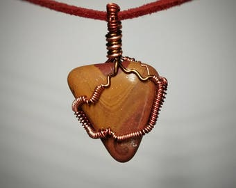 Noreena Jasper Pendant - Wire Wrapped Stone Necklace - Handmade Jewelry - Brown Orange and Red Layered Rock - Double Sided Necklace