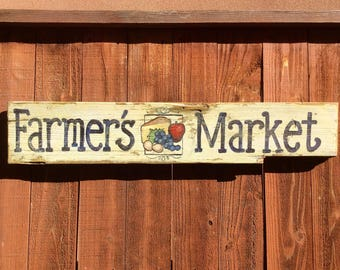 Farmers Market Sign with Fruit.Handpainted on reclaimed wood. Large and perfect for your home or patio.