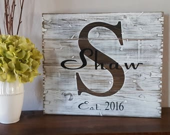 Rustic Personalized Monogram Established Date Wooden Sign