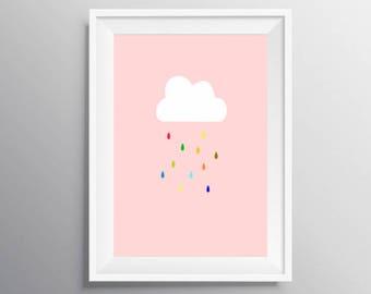 Nursery Cloud  print, digital download, Cloud print, Cloud rain print, Girl nursery decor, Instant download, baby shower gift, Baby shower