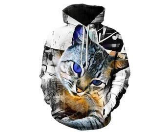 Cat Hoodie, Cat, Cat Hoodies, Animal Prints, Animal Hoodie, Animal Hoodies, Cats, Hoodie Cat, Hoodie, 3d Hoodie, 3d Hoodies - Style 8
