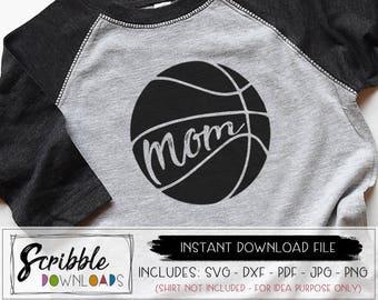 Basketball mom SVG - sports mom - DXF - mom basketball - Iron On - Sports svg pdf HTV ready - team basketball - printable svg - Instant cut