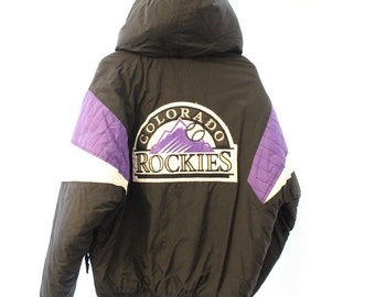 Vintage 90s Embroidered Starter Colorado Rockies Puffer Anorak w/ Hood - M