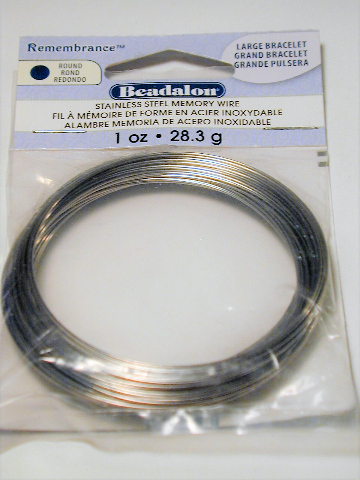 Beadalon Memory Wire Stainless Steel Large Bracelet 28.3 grams 1oz ...