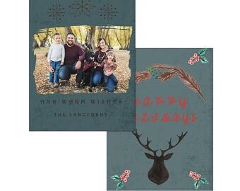 Rustic deer country Christmas holiday card template photography digital