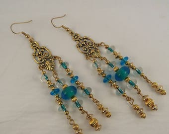 Gold Chandelier Earrings, Turquoise Glass Bead Gold Earrings, Gifts for her, Gifts for girls, Gifts
