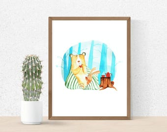 home decor wall art watercolor fox print watercolor wall art print animals prints art illustration print for kids illustration watercolor