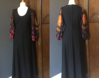 Vintage 1970s Black Maxi Dress with Psychedelic Sleeves