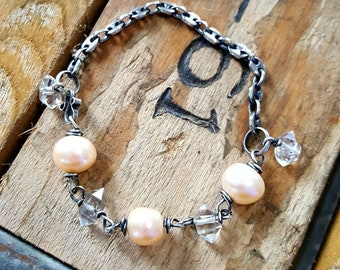Sterling Silver and freshwater pearl bracelet with herkimer diamond quartz