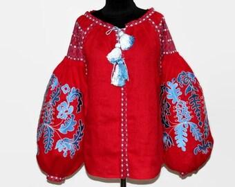 Embroidered Ukrainian Women Wear Vyshyvanka Blouse Bohemian Clothes Red Linen Shirt Boho Clohing Boho chic Ukraine Embroidery Vishivanka