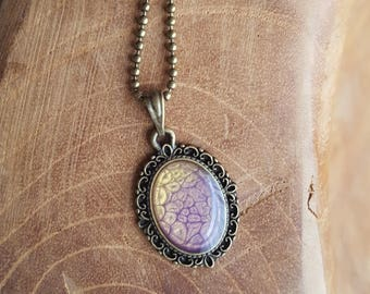 Necklace with resin pendant * mint green *