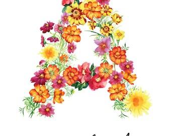Letter A Print - Abigail Nursery Art - 11x14in