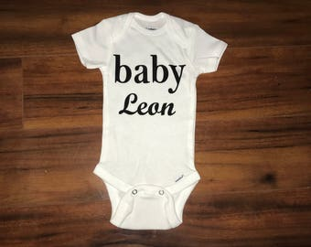 Baby announcement onesie personalized onesie last name onesie
