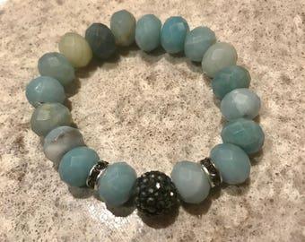 Amazonite Bracelet with Crystal Beads