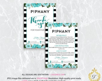 Piphany Care Instruction Card, Piphany Thank You Card, Personalized Piphany Card, Piphany Marketing - Printable Card, Digital file PP03