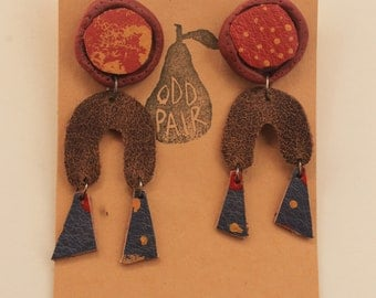 Groovy Earthy Coloured Polymer Clay and Leather Dangle Earrings