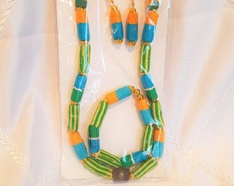 Fabric Necklace with bangles and earrings