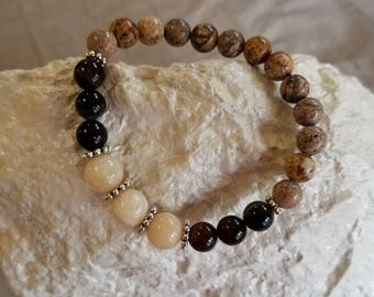 Yellow Jade,Brown Czech with Natural Stone color Gemstones