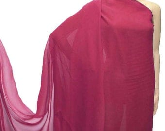114cm /45 inches wide Rosewood red Silk Georgette Chiffon Fabric 8mm dressmaking material sheer CN-96 by the yards or by the meters