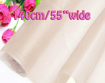 140cm Wide Cloud Pink 100% Real Mulberry Silk Organza Fabric Natural Silk Material (QI Za 20009W X Yards / Meters) Light Weight