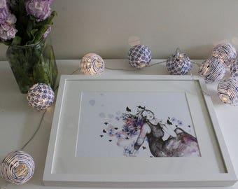 "Caught in Flow"", Prints, Art, Design, Wall art, Art Print, Illustration, Hand Drawn"