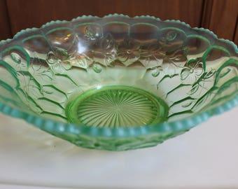 "Vintage Fenton ""Honeycomb & Clover"" Green Opalescent Glass Bowl"