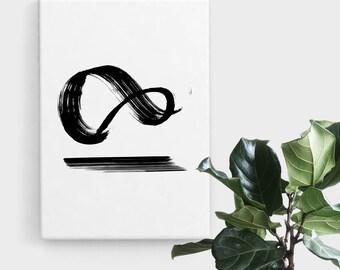 Infinity Brush Strokes Print, Print Art, Brush Stroke Art, Abstract Art, Scandinavian Print, Minimalist Art, Digital Art, Printable Art
