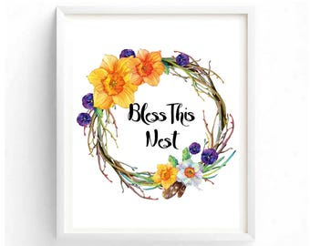 Bless this nest Beautiful Watercolor Floral Wall Art Bible based Inspirational Motivational Quotes Digital Printable Art Family Home Decor
