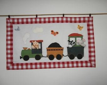 Tapestry - train - zoo - animals