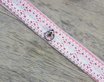 Kitten play Collar / Bdsm Choker / pet play / Lacy baby pink  / DDLG / SUB/ DOM / little / adult