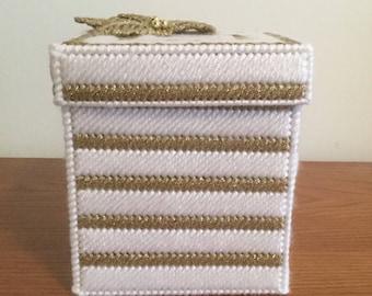 Christmas Gift Box Tissue Box Cover, handmade using plastic canvas