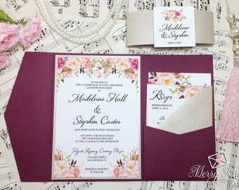 Burgundy and Beige Wedding Invitations, Burgundy Wedding, Pocketfold Wedding Invitation, Watercolor Flower,Burgundy Wedding Invitation, #C24