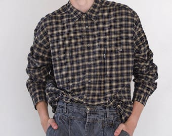 VINTAGE Black LEVI'S Checked Long Sleeve Button Downs Retro Shirt