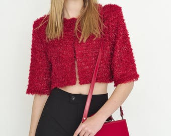 VINTAGE Red Shell Cropped Short Sleeve Retro Jacket