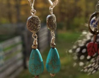Turquoise Color Bead Earrings