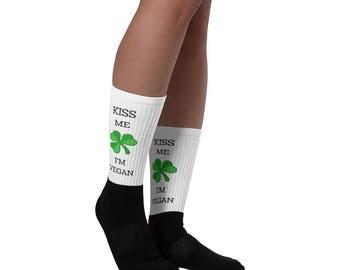 Vegan Vegetarian Kiss Me I'm Vegan St. Patrick's Day Socks