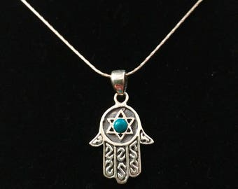 Sterling Silver Chamsa hand and Magen David (Star of David)  pendant,  Opal gemstone, and Sterling silver necklace
