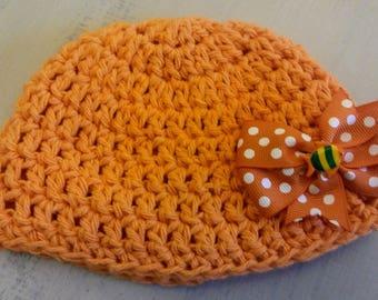 Baby hat, orange hat, girl's hat, cotton hat, crochet hat, cotton yarn