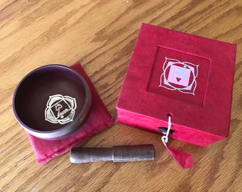 """Small Vintage 3"""" Tibetan Gift Singing Bowl Made In Nepal - Red Root Chakra"""