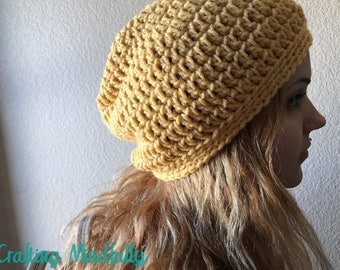 Yellow (Crochet) Slouchy Beanie