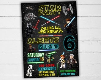 Star Wars Invitation, Star Wars Birthday Invitation, Star Wars Party Invitation, Star Wars Birthday, Star Wars Party, Star Wars Card