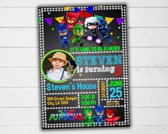 Pj Masks Invitation, Pj Masks Invite, Pj Masks Birthday, Pj Masks Party, Pj Masks Birthday Invitation, Pj Masks Birthday Invite, Pj Masks