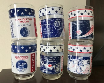 Apollo Commemorative Glasses, Set of 6, Vintage Collectible Juice Tumblers