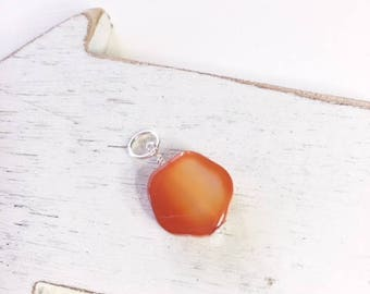 Carnelian  pendant,14kt gold filled, faceted orange pendant, carnelian dangle, carnelian,carnelian drop, wire wrapped carnelian, charm