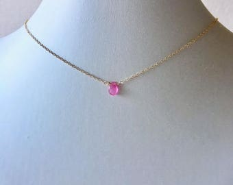 Pink Sapphire necklace,layered necklace,minimalist jewelry, gift for her,sapphire necklace,dainty chain,pink sapphire,gold fill necklace