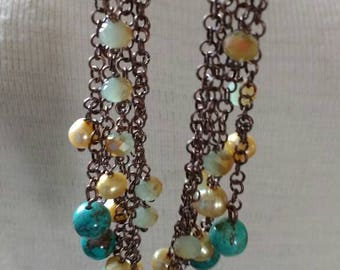 1Pair Of Copper Turquoise Pearl & Crystal Earrings 5 Inches Long