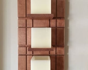 Wall mounted LED Candle Stand - Cherry wood* Hanging LED Candle Holder * Wall Accent