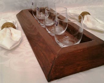 Real wood rustic wine beverage glass flight assortment tray holder carrier great gift